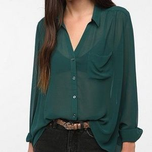 UO Silence + Noise Winter Green Sheer Button Down